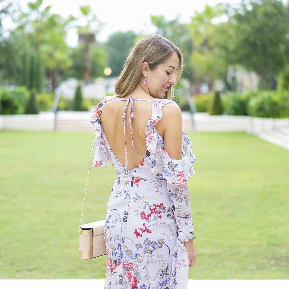 Floral ruffle sleeve maxi