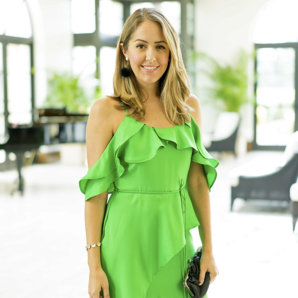 Ruffle emerald green maxi