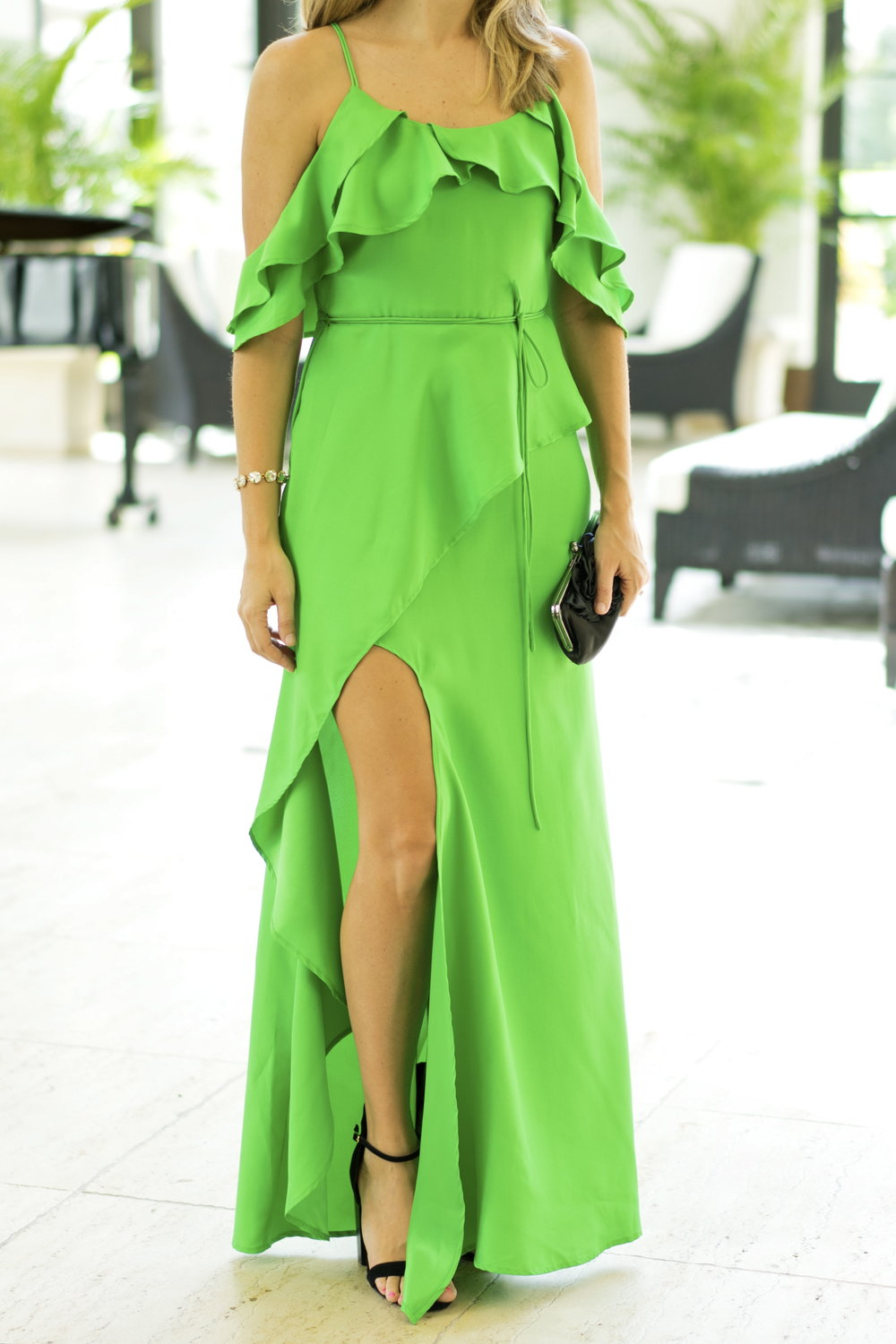 Emerald green ruffle maxi