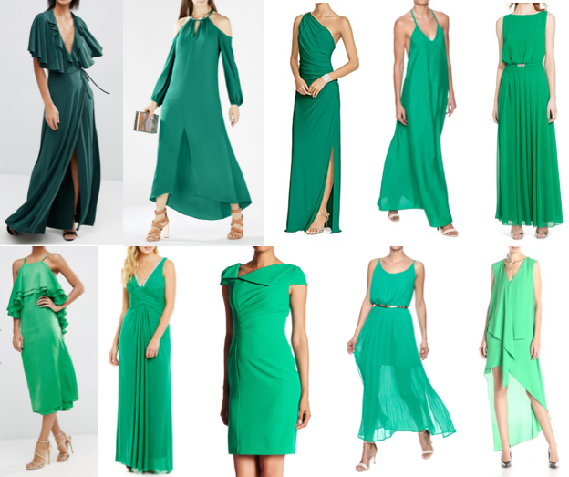 Emerald green dresses on a budget