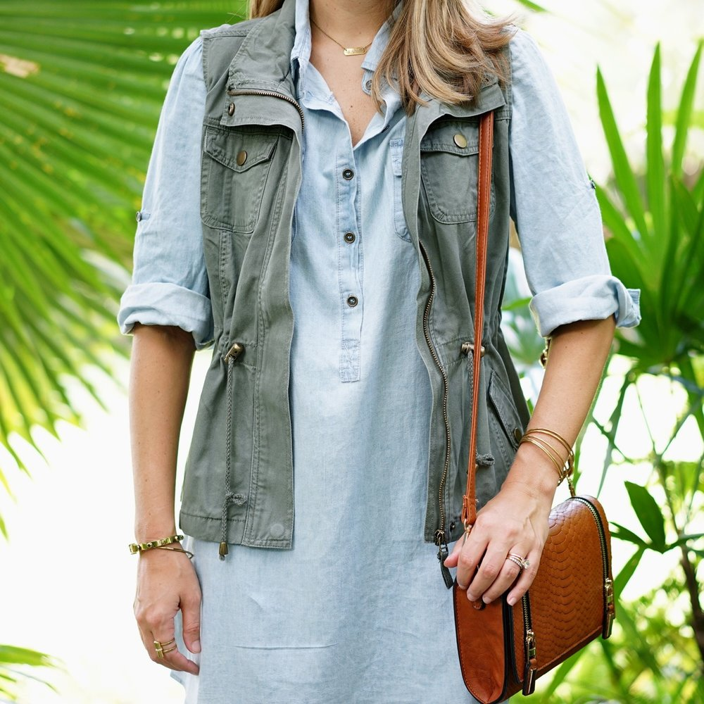 Chambray dress and utility vest from Ross