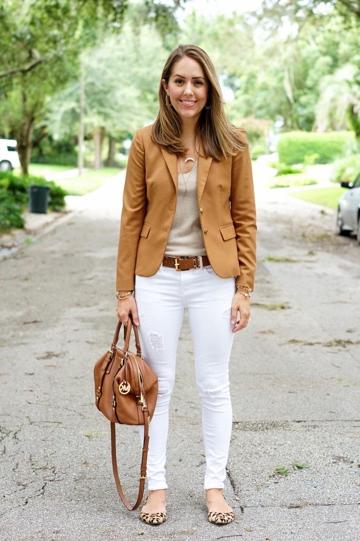 Camel blazer, white jeans, leopard flats
