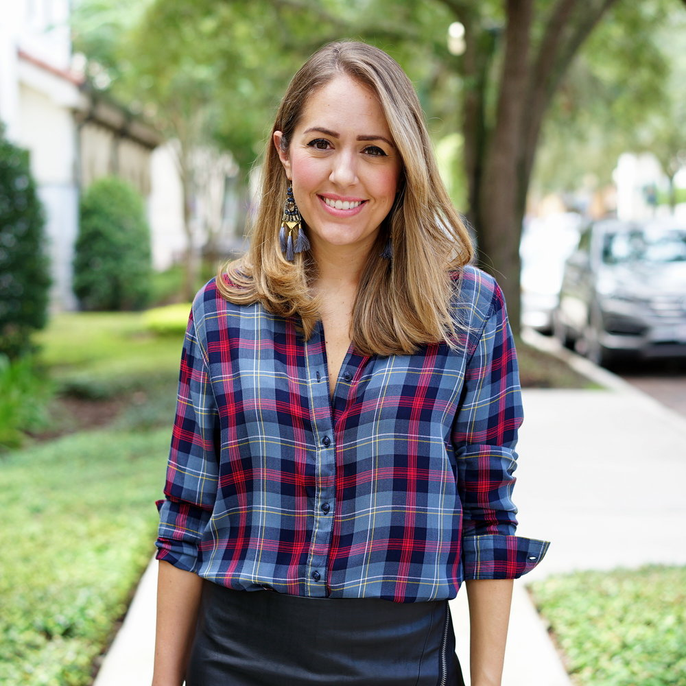 Plaid top with leather skirt