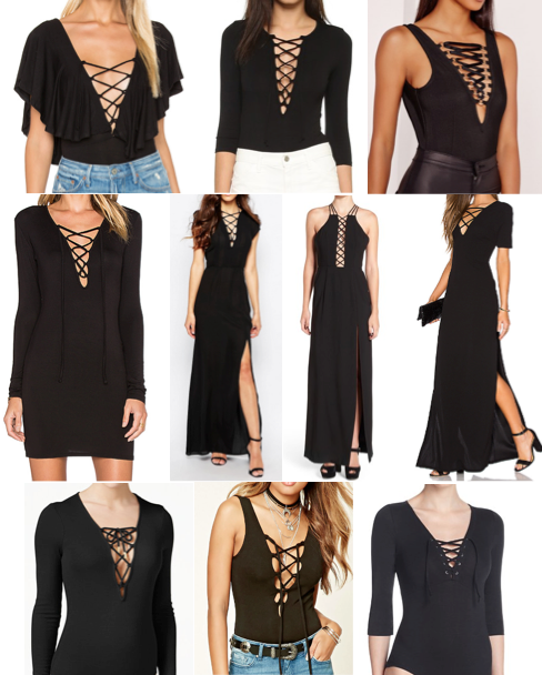 Lace up bodysuits and dresses