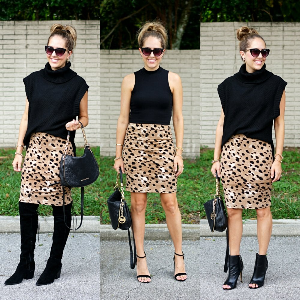 Leopard skirt, three ways