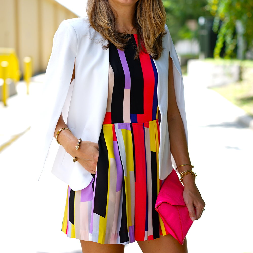 White cape blazer, colorful romper