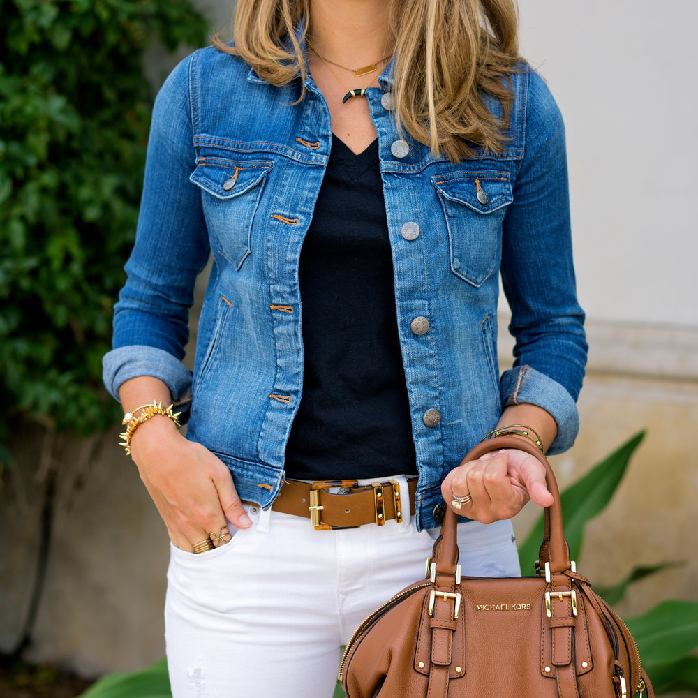 Denim jacket, white jeans
