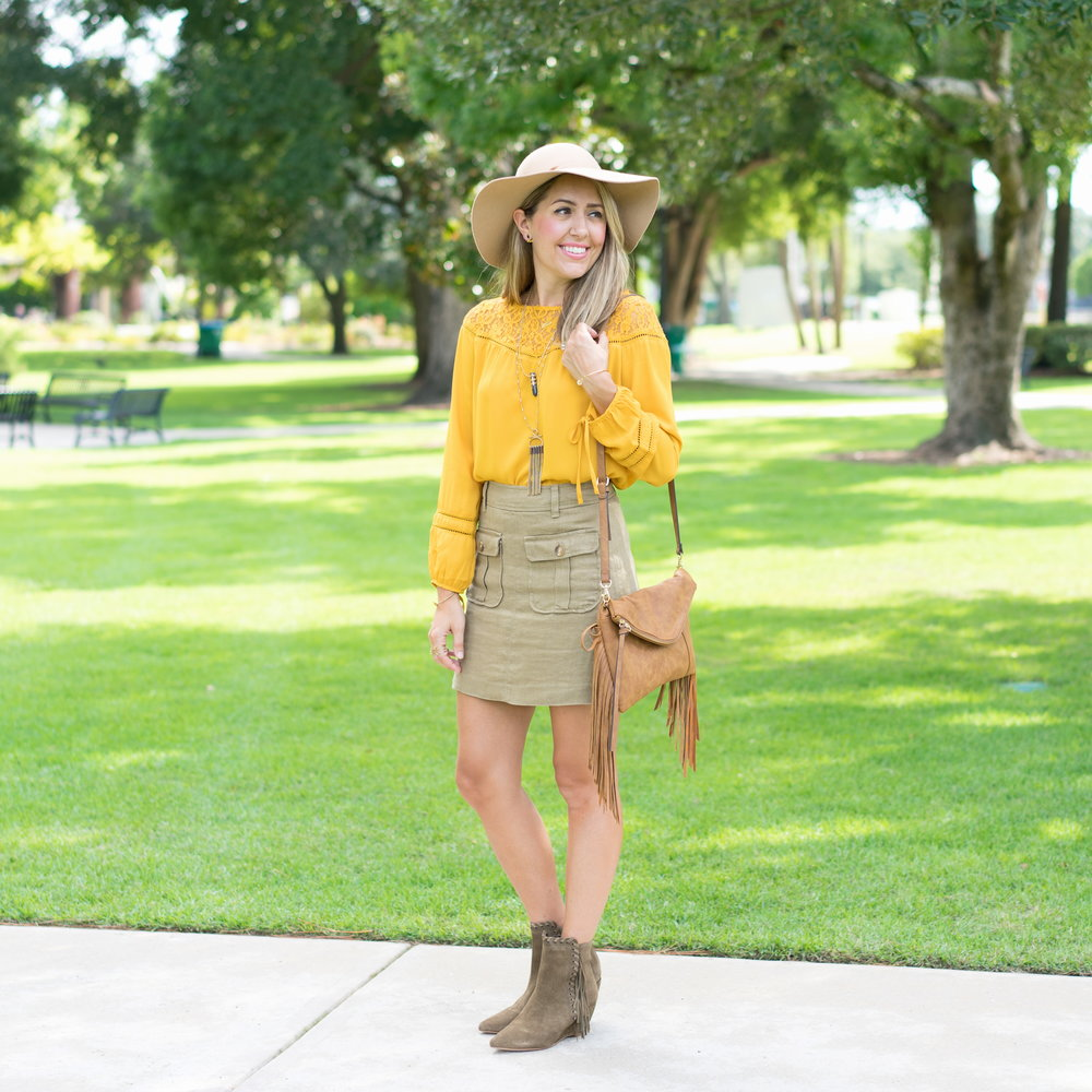 Mustard top, cargo skirt, fringe booties