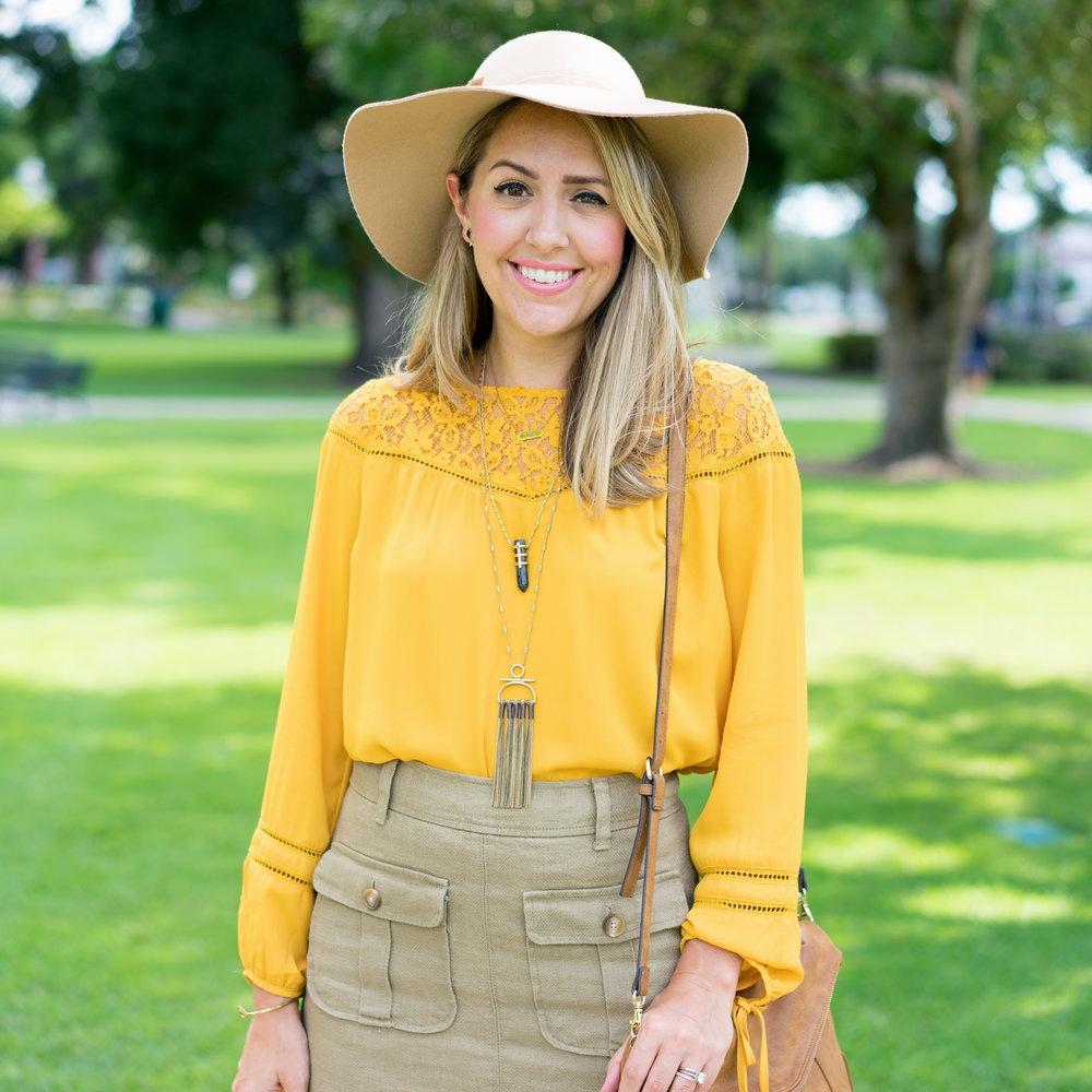 Mustard top, cargo skirt