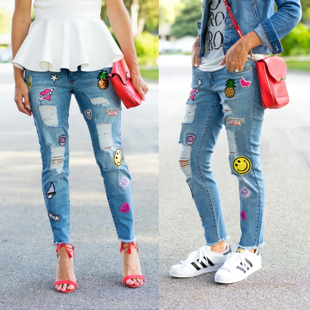 Patch jeans with red heels and sneakers