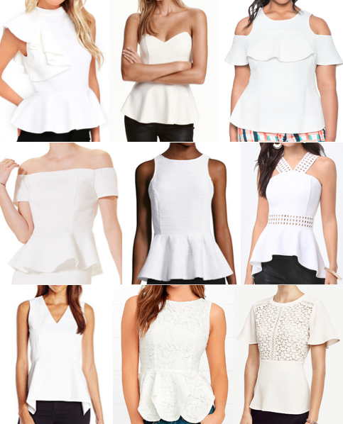 White peplum tops