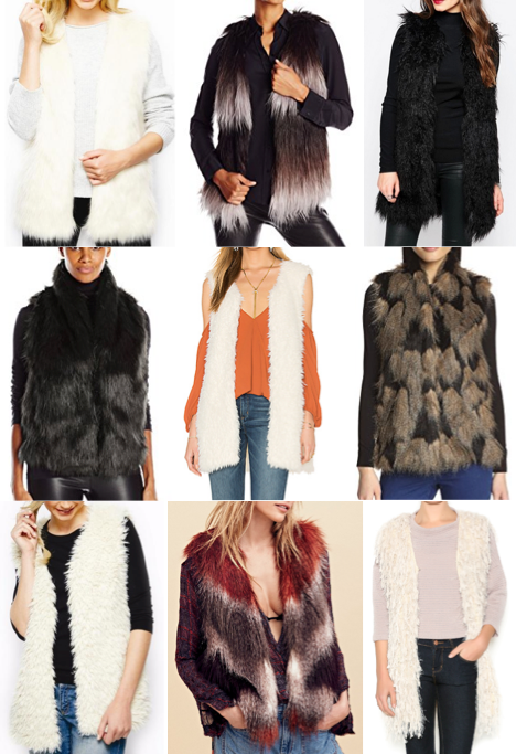 Faux fur vests on a budget