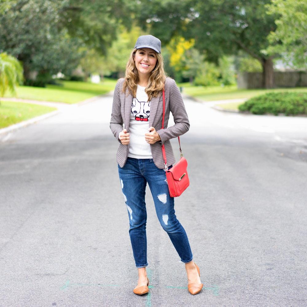 Plaid blazer, graphic sweater