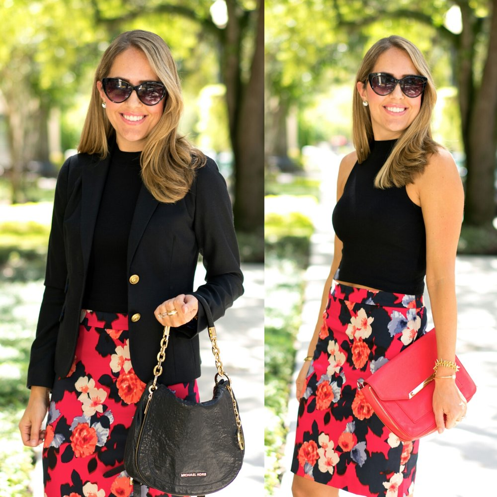 Floral pencil skirt, two ways.