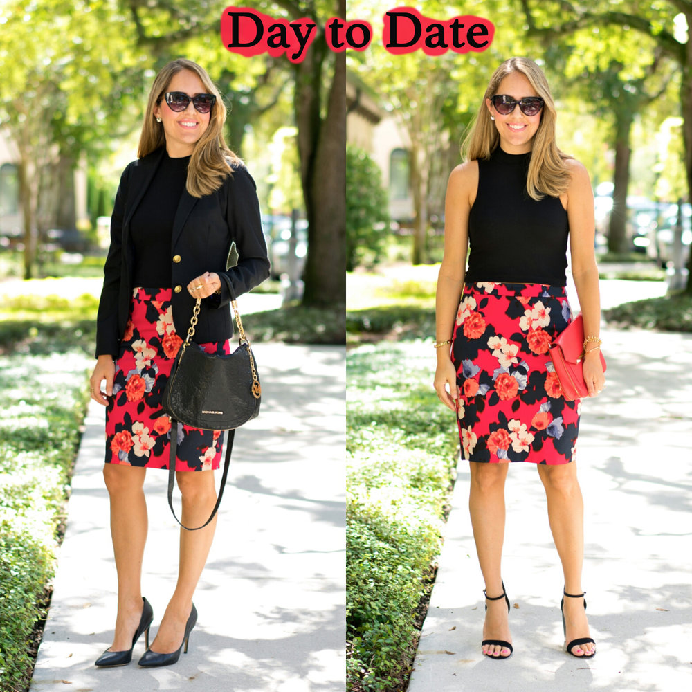 Floral pencil skirt, two ways