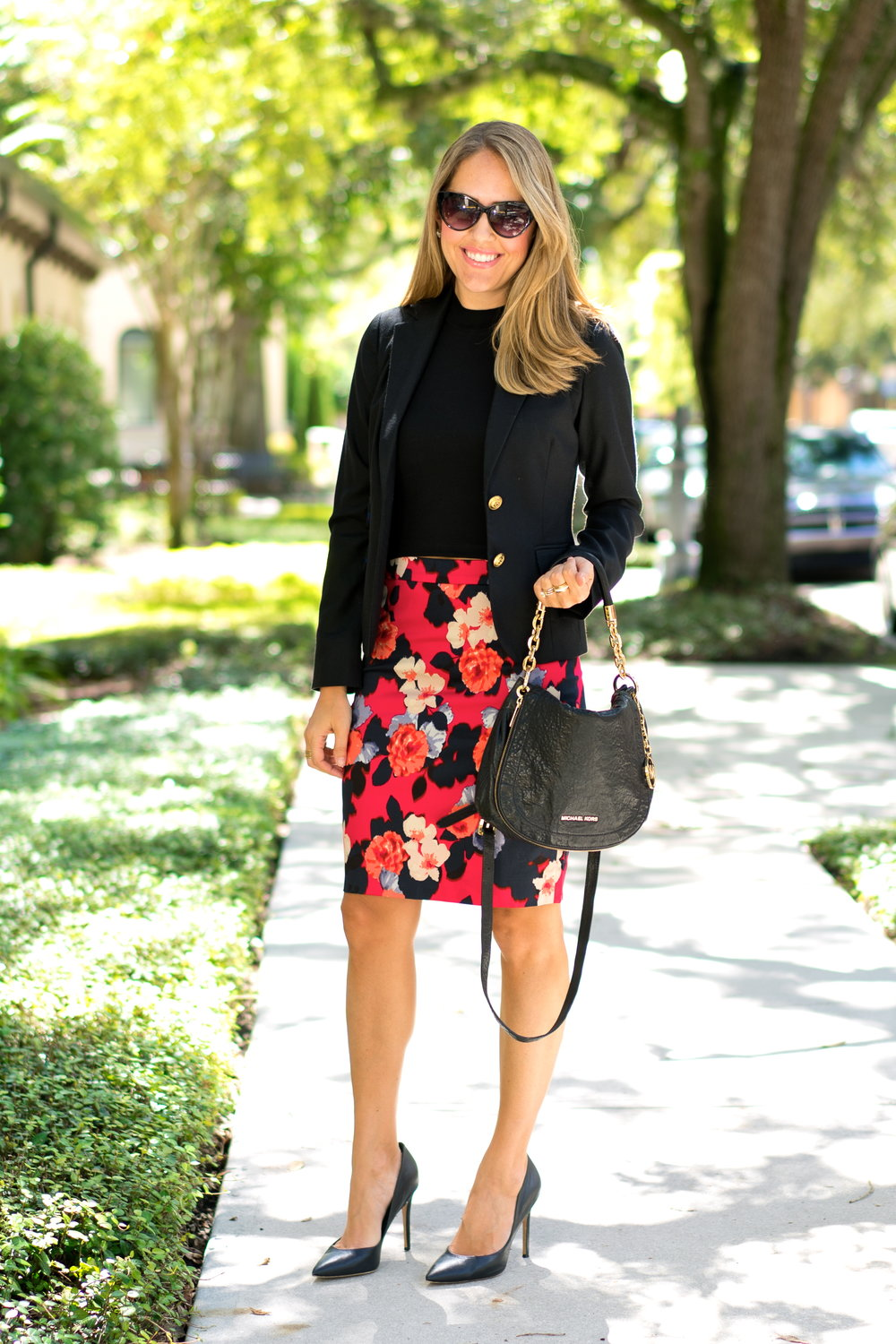 Floral pencil skirt, black blazer