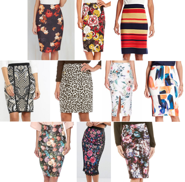 Patterned pencil skirts on a budget