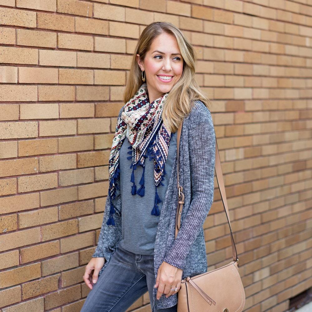 Tassel scarf, gray tee, gray jeans
