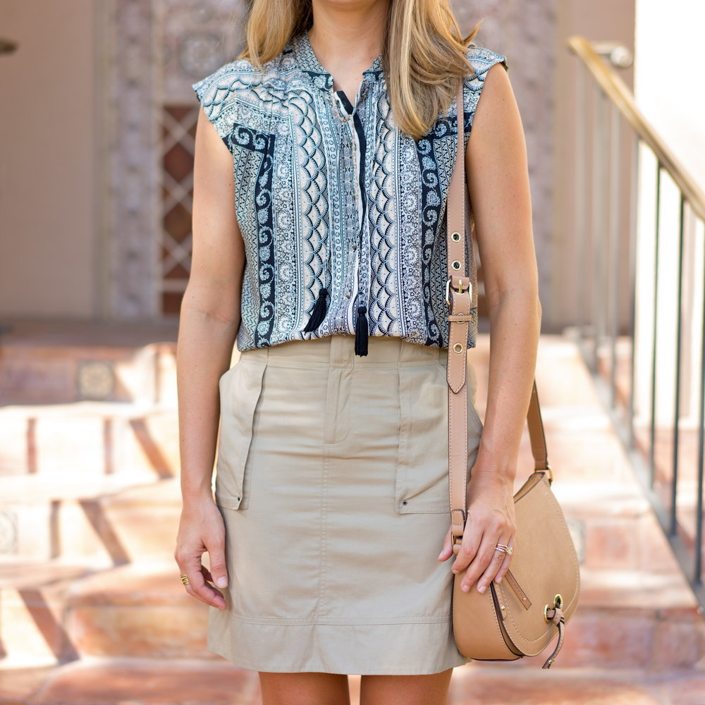 Scarf print top and cargo skirt
