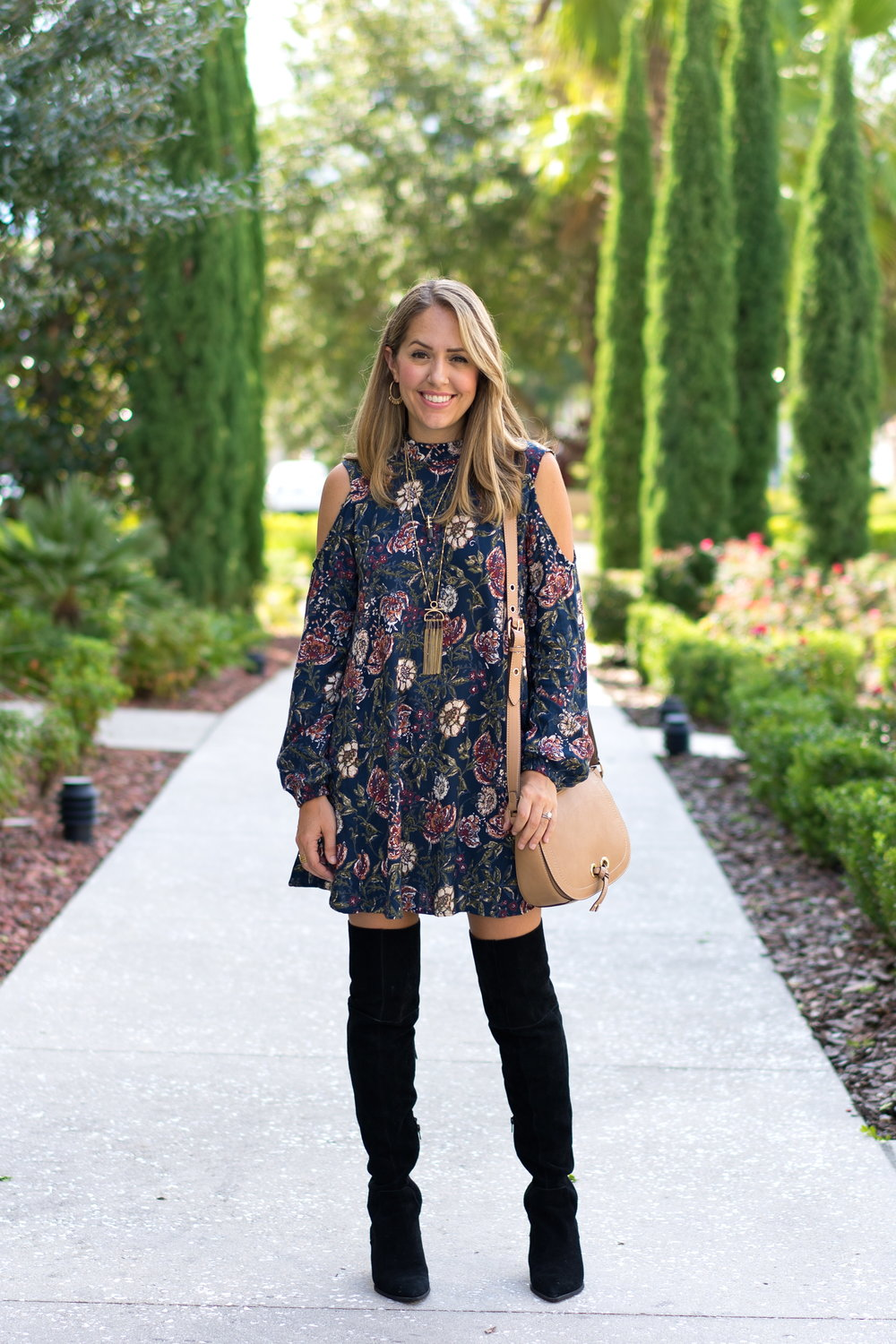 Cold shoulder floral dress