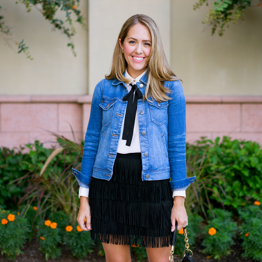 Denim jacket, bow blouse