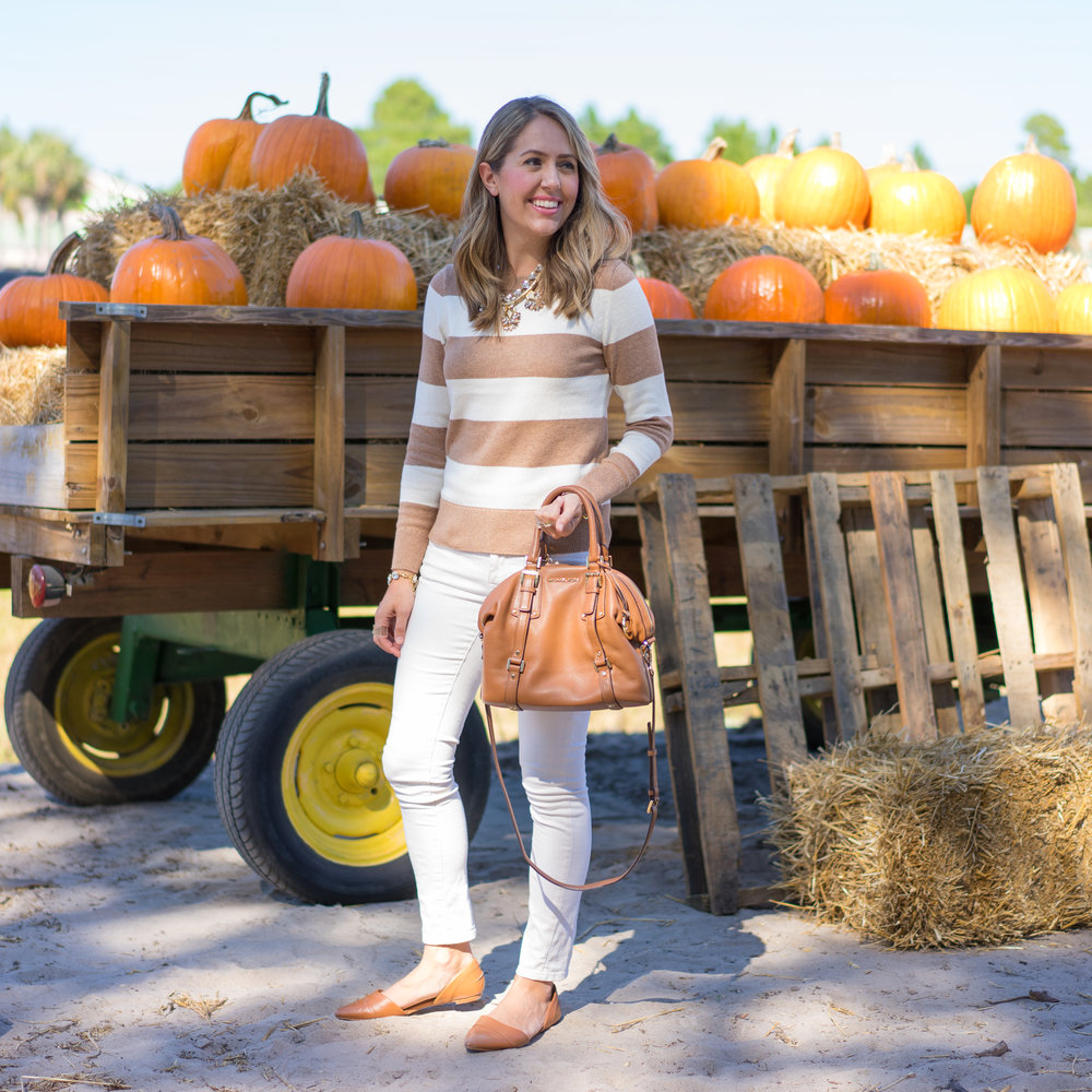 Striped sweater, ivory jeans