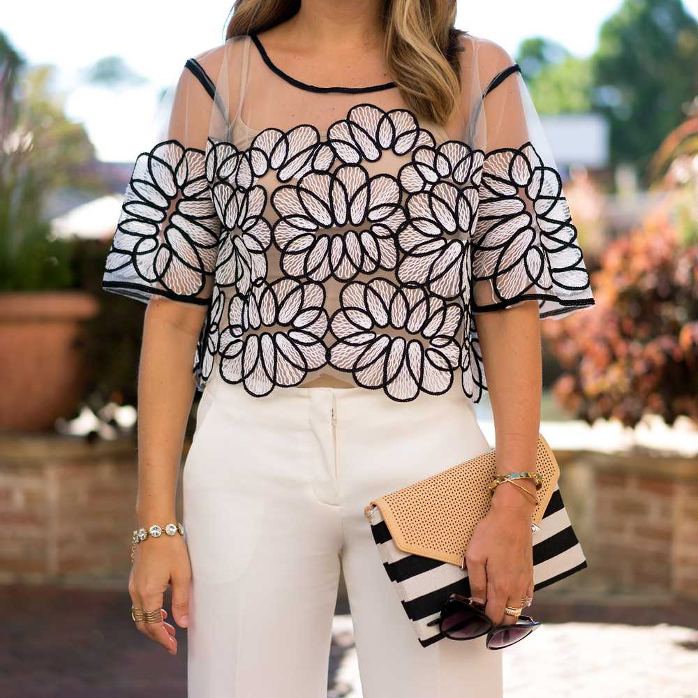 Applique top, white dress pants
