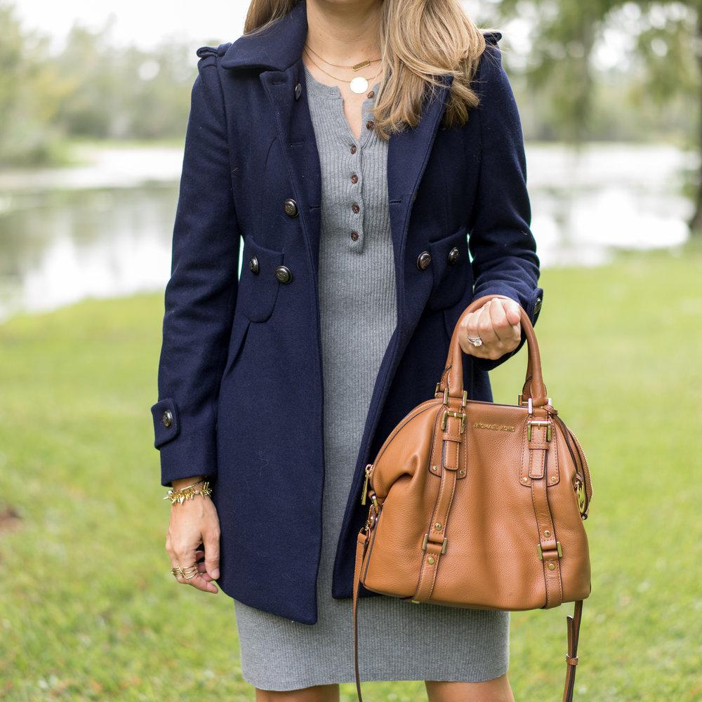 Navy peacoat, gray sweater dress, cognac boots