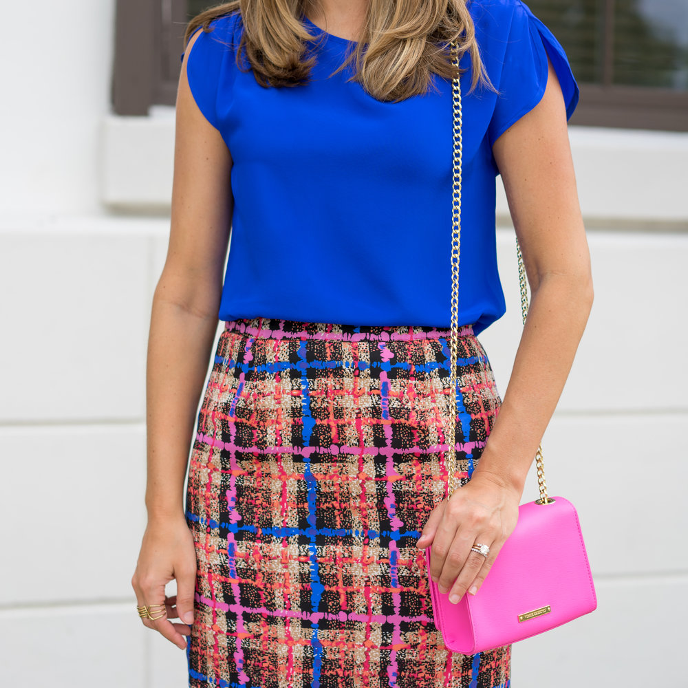 Silk cobalt shirt, plaid skirt