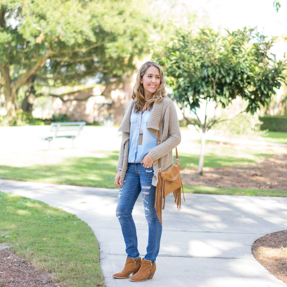 Cozy sweater, fringe purse, chambray shirt