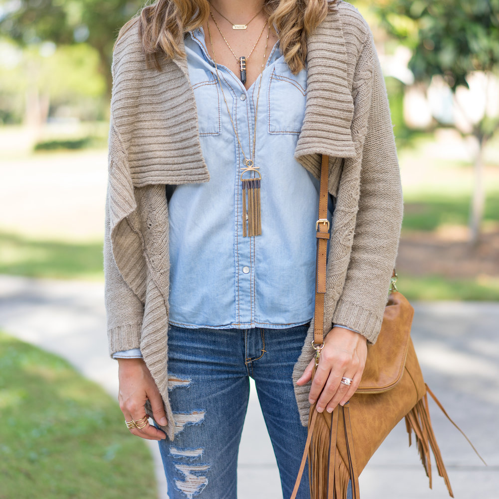 Cozy sweater, chambray shirt, fringe purse