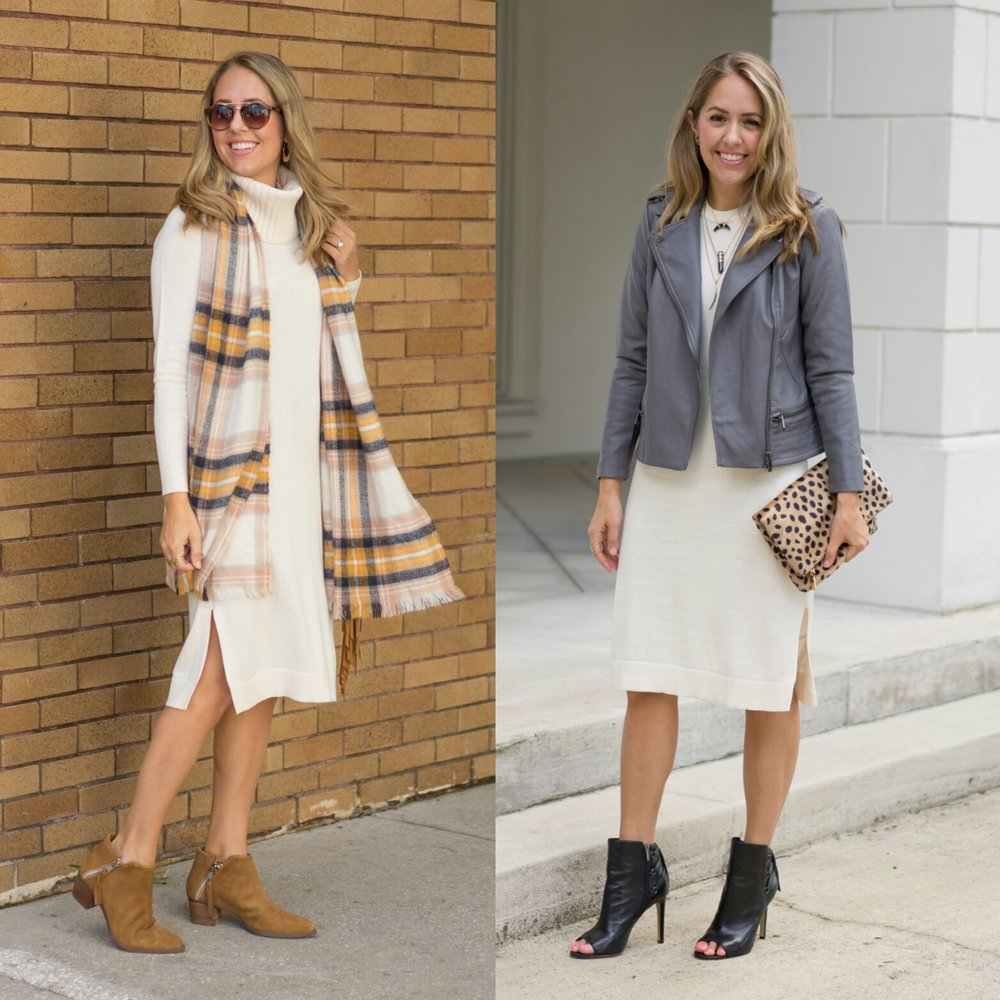 Ivory sweater dress, two ways