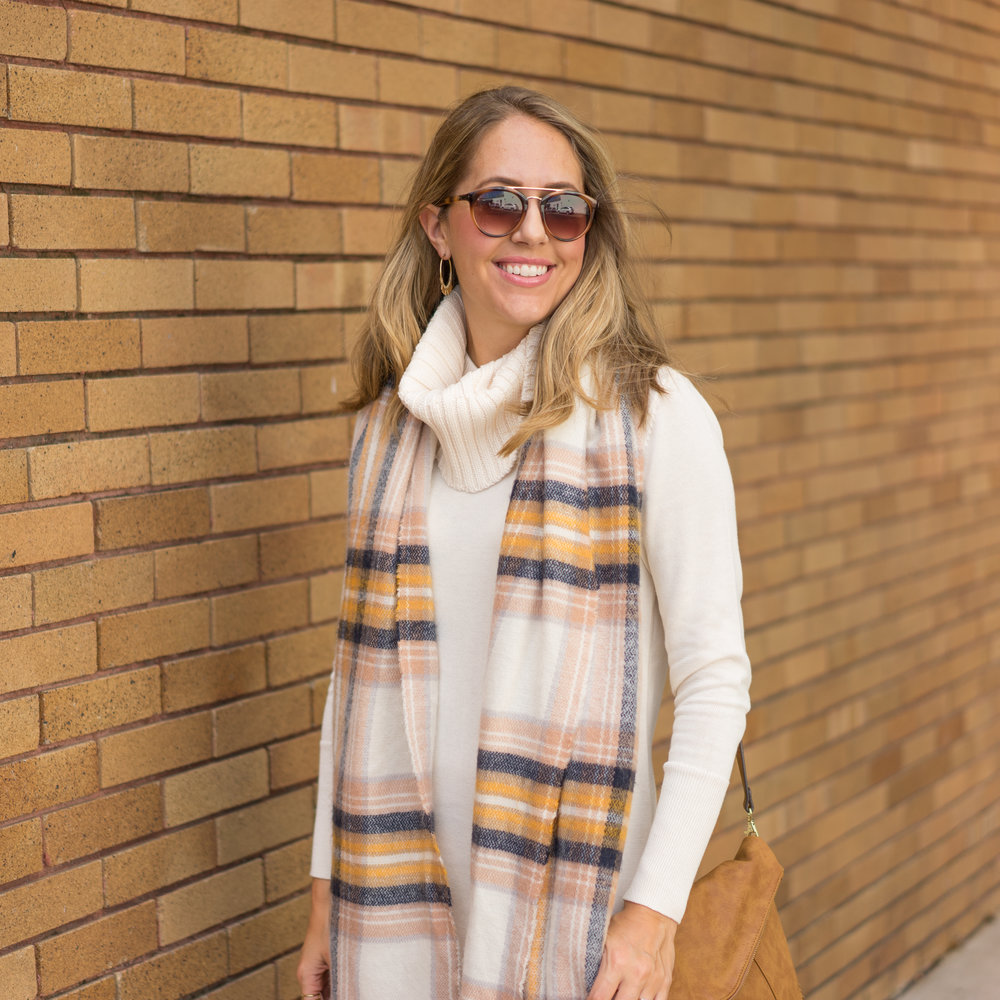 Ivory sweater dress, plaid scarf