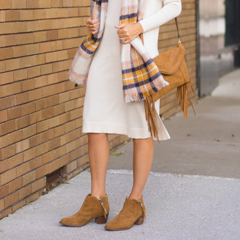 Ivory sweater dress, plaid scarf, suede booties