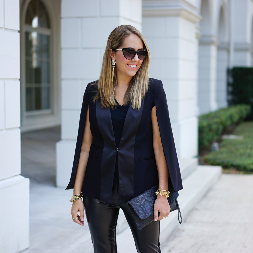 Tuxedo cape blazer, faux fur leggings