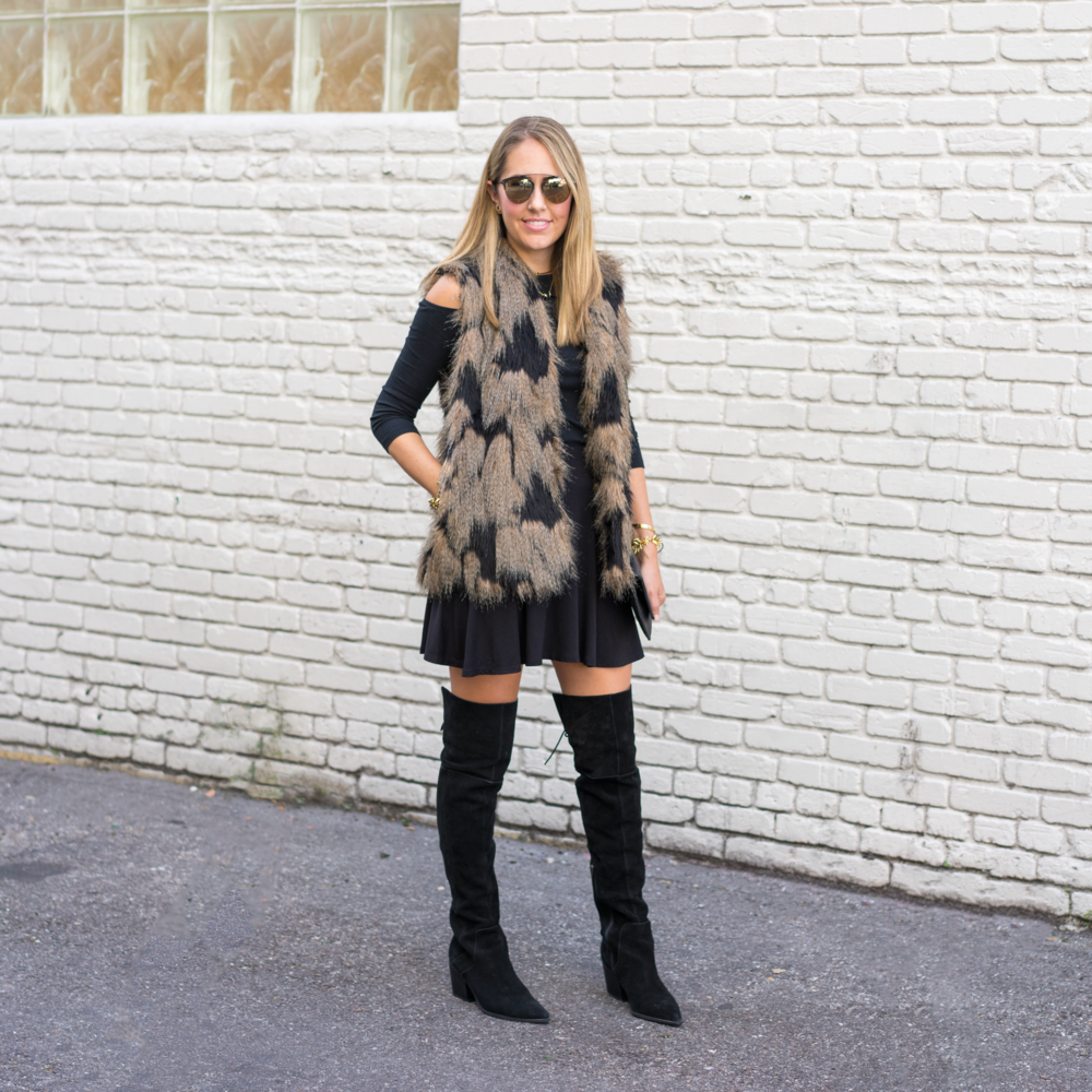 Faux fur vest, over the knee boots