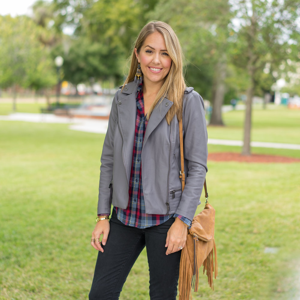 Gray leather jacket, plaid shirt, black jeans