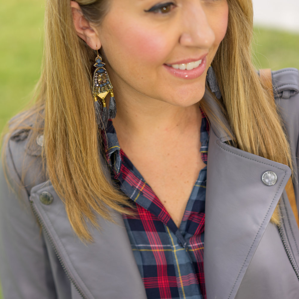 Gray leather jacket, plaid shirt