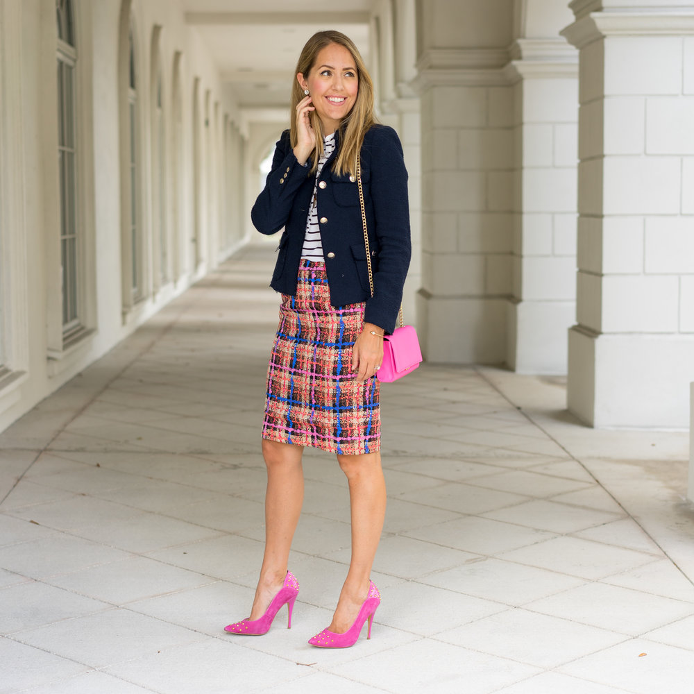 Boucle jacket, J.Crew Collection skirt, pink heels