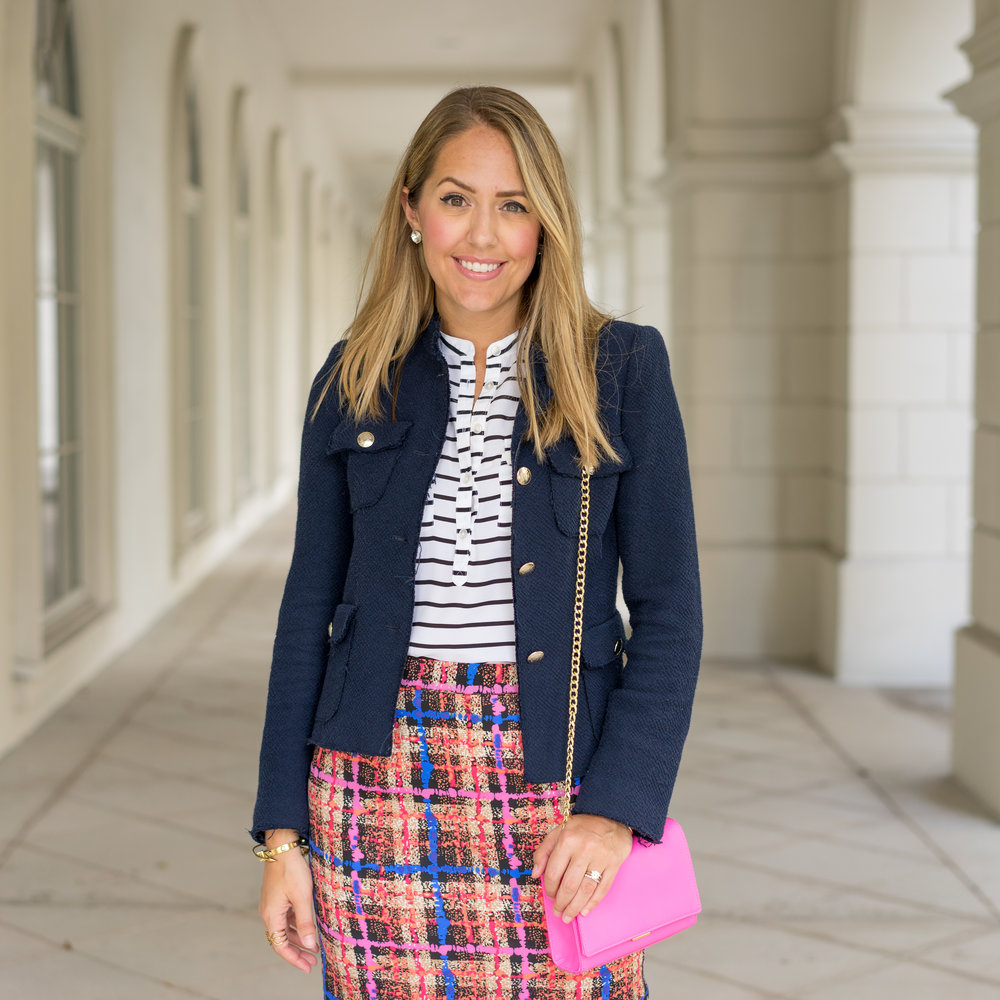 Boucle jacket, J.Crew Collection skirt, pink purse