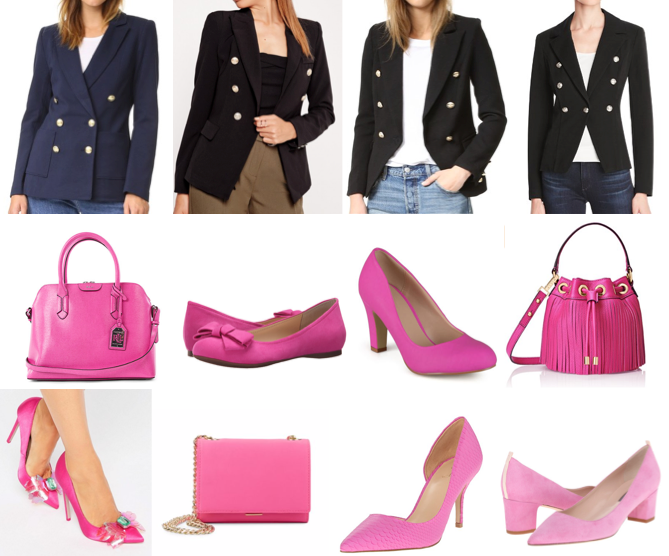 Military blazers and pink accessories