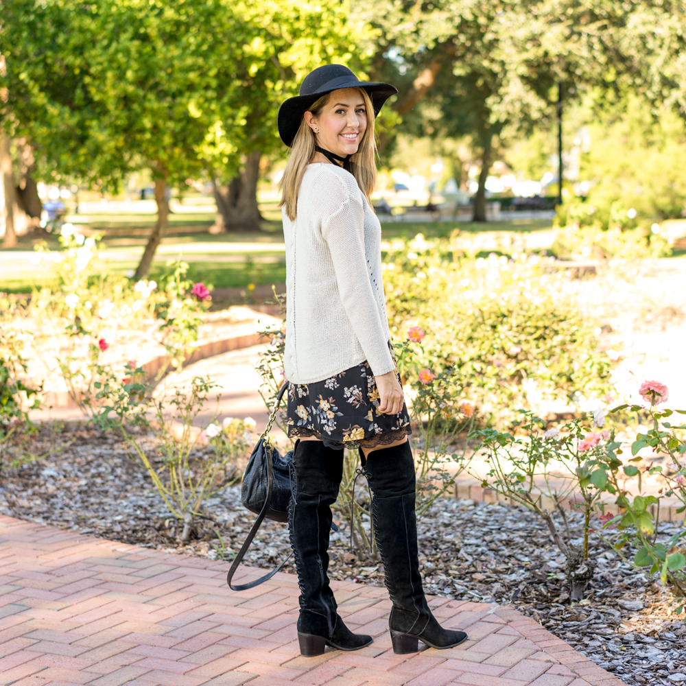 ivory sweater, floral slip dress, over the knee boots