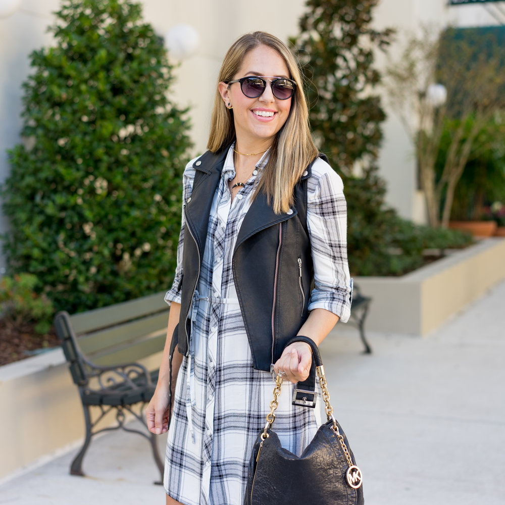 Moto vest, plaid dress