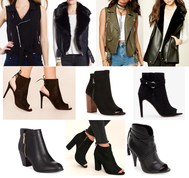 Moto vests and black booties on a budget