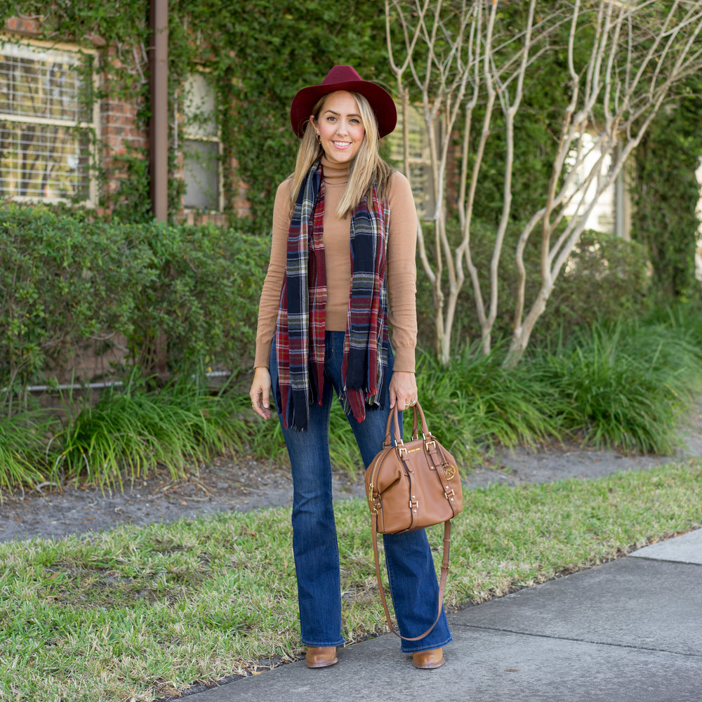 Camel turtleneck, plaid scarf, maroon hat
