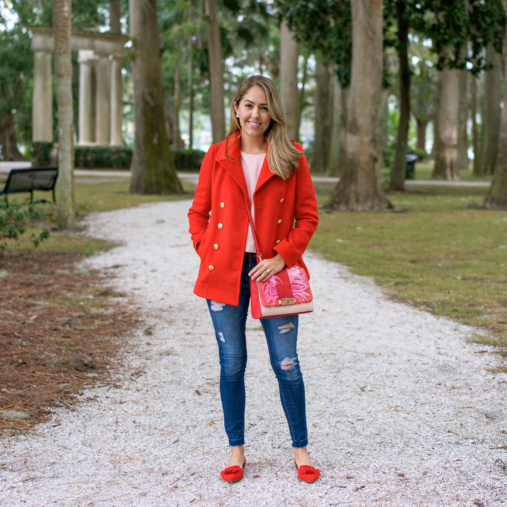 Red coat, red flats