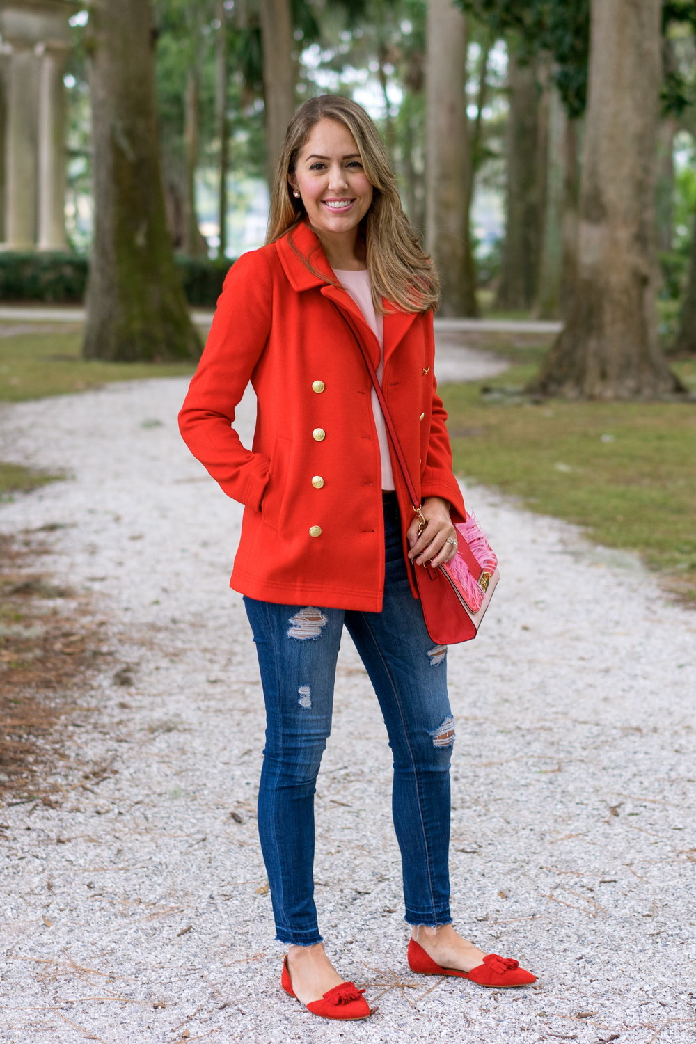 Red peacoat, red flats