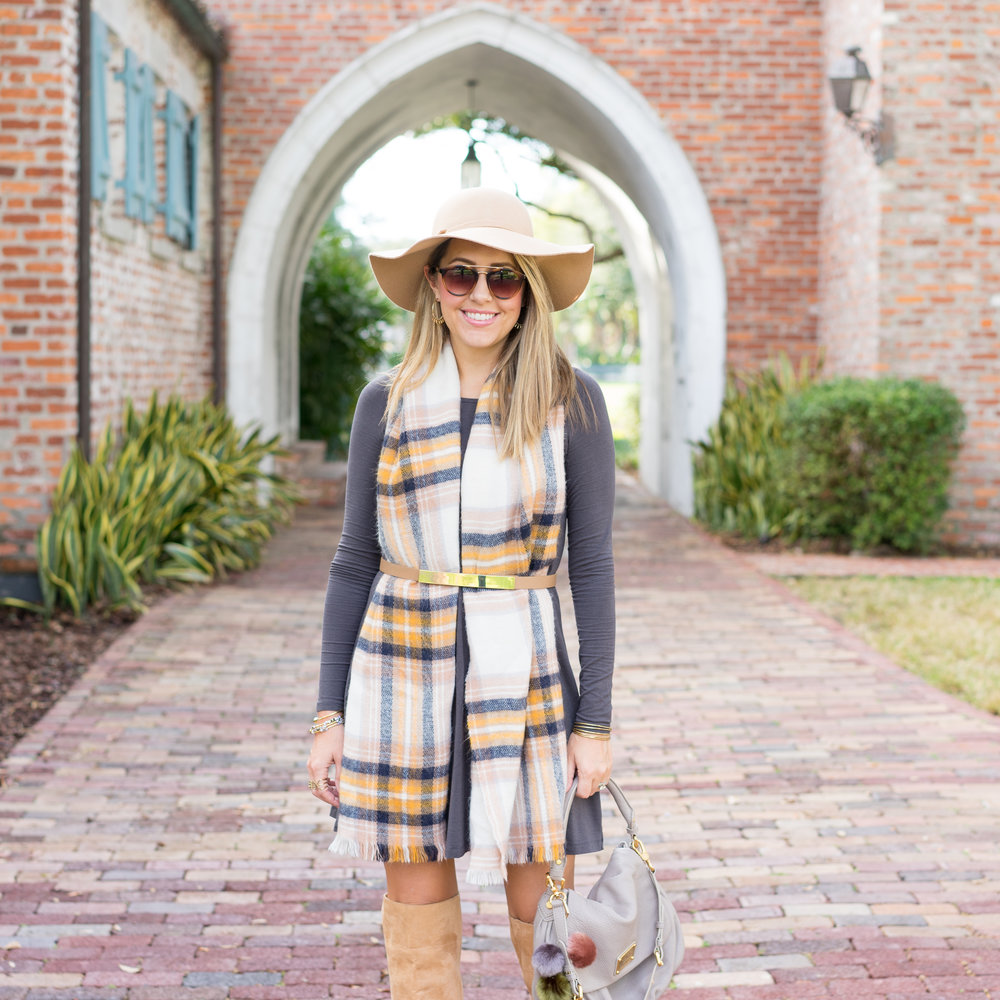 Plaid scarf, long sleeve dress