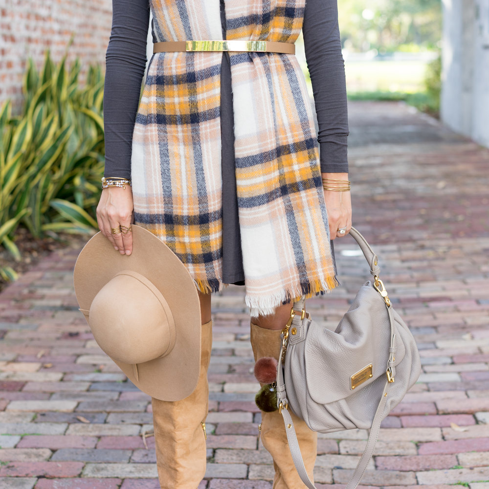 Plaid scarf, long sleeve dress, over the knee boots