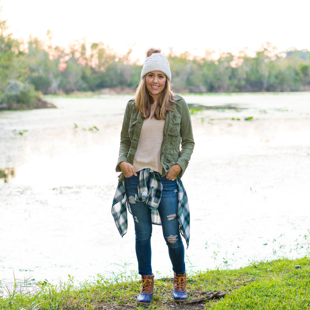 Utility jacket, beanie, plaid shirt, duck boots